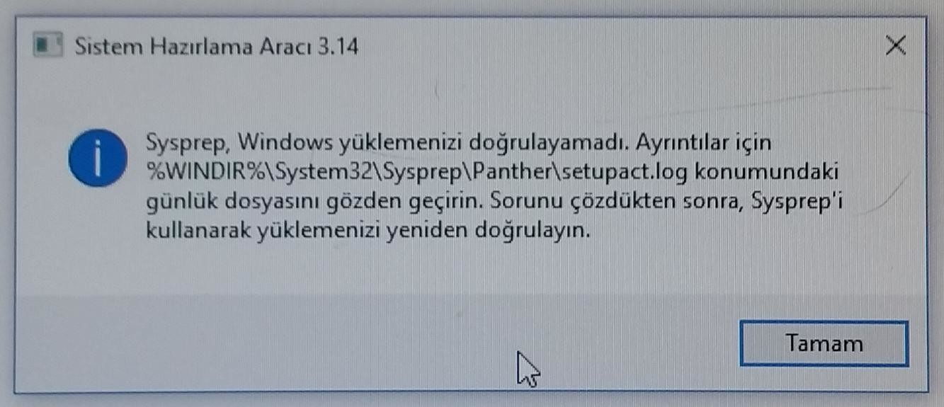 Windows 10 Sysprep Hatası – A  Faruk